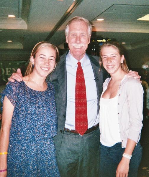 Senator Angus King with Dana Freshley and Sara Freshley on Election Night, November 6, 2012.