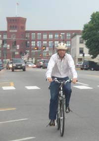 Craig on his way to work: zero emissions.
