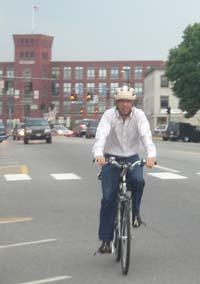 Craig on his way to work: zero emissions.
