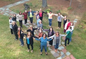 A client group makes a spontaneous Peace Sign.